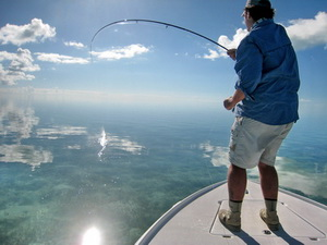 Flyfishing for bonefish on the flats in the Turks and Caicos Islands