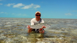 Bonefishing on an ocean flat off Providenciales in the Turks and Caicos Islands
