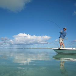 Hooking bonefish on the bonefishing flats of Provo Turks and Caicos Islands