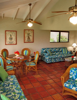 Harbour Club Villas bonefishing accommodation Turks and Caicos with spacious living area with couches and dining room