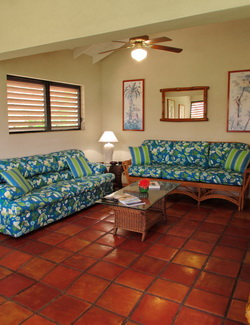 Sofa bed for extra guests in our fishing lodge rental villas at Harbour Club in the Turks and Caicos Islands
