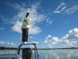 Bonefish guide on flats boat in the Turks and Caicos Islands